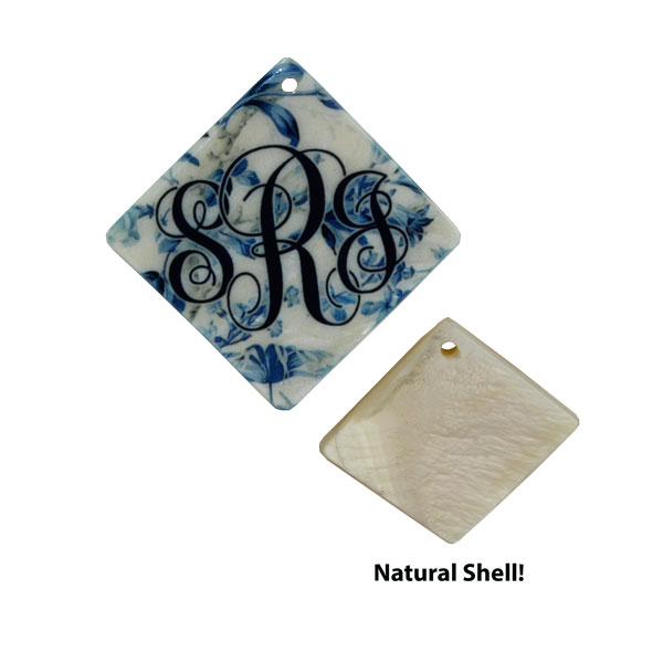 LumaShell™ Sublimation Blank Natural Shell Pendant- 30x30mm - Large Diamond