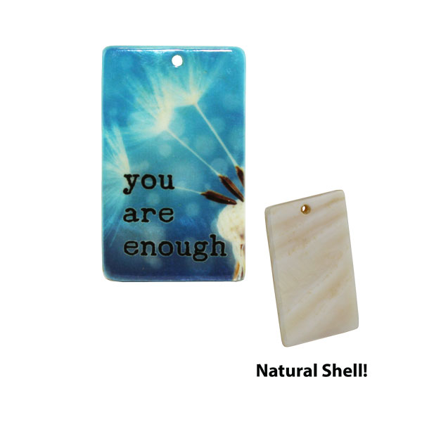 LumaShell™ Sublimation Blank Natural Shell Pendant - 25x40mm - Rectangle