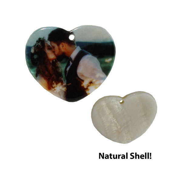 LumaShell™ Sublimation Blank Natural Shell Pendant - 25x30mm - Heart