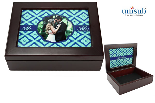 Unisub Mahogany Keepsake Box - 2-sided Al Insert