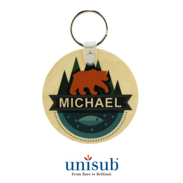 2.5 Round Unisub Natural Wood KeyTag - Clear Matte