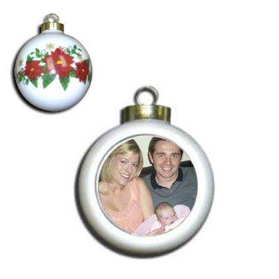 Ceramic Poinsettia Ball Ornament Winsert