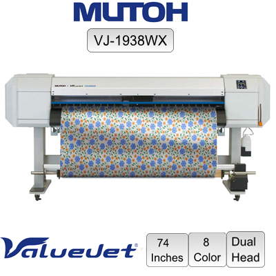 "Mutoh ValueJet VJ-1938WX 8-Color 74"" Dual Head"