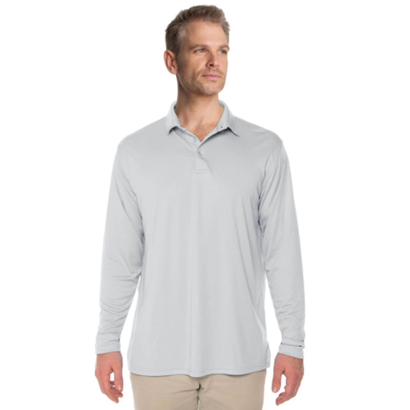 Vapor® Solar Long Sleeve Polo - Pearl Grey