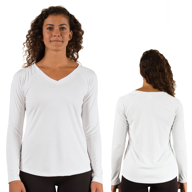 Ladies Vapor® Solar V Neck Long Sleeve - White