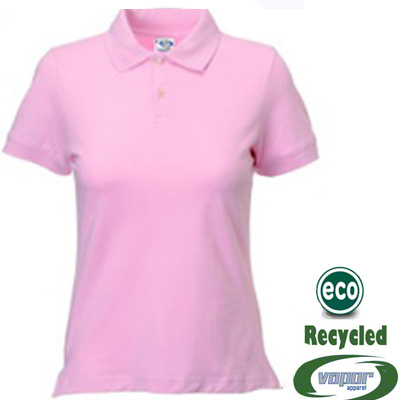 Ladies Small Solid Pink Vapor® Eco™ Polo