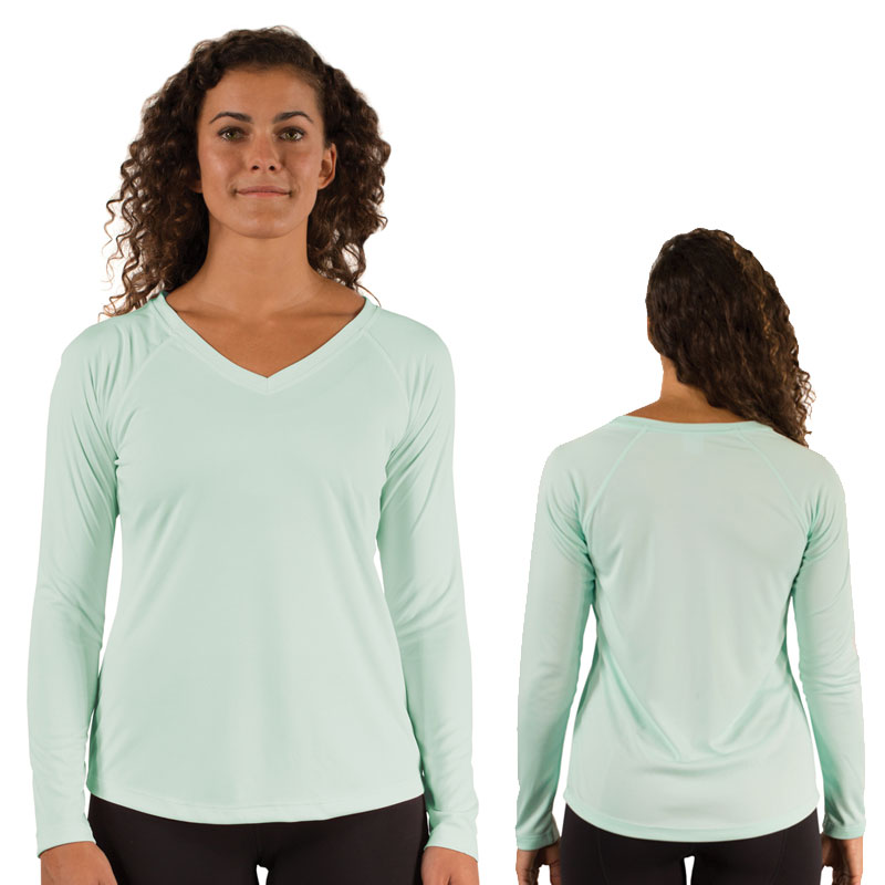 Ladies Vapor® Solar V Neck Long Sleeve - Seagrass