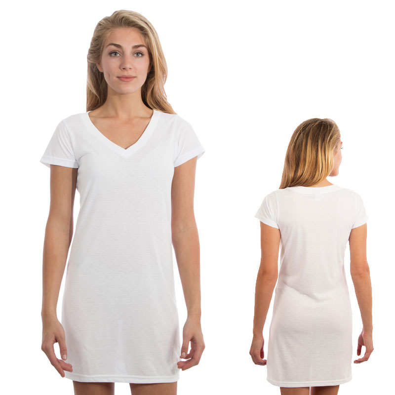 Ladies Fashion Fit Short Sleeve V Dress - White