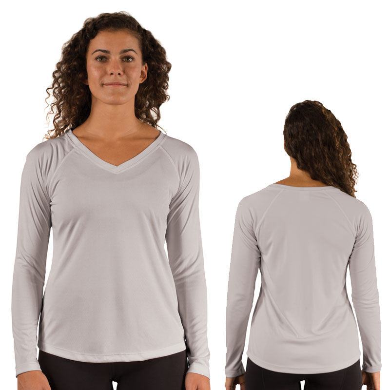 Ladies Vapor Solar V Neck Long Sleeve -Pearl Gray