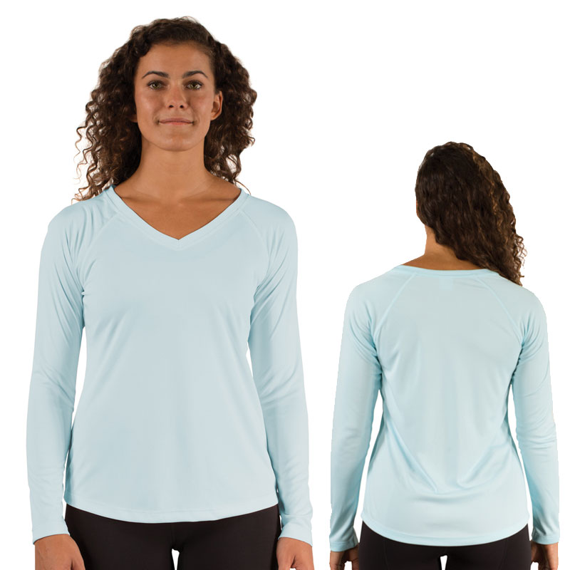 Ladies Vapor Solar V Neck Long Sleeve -Arctic Blue