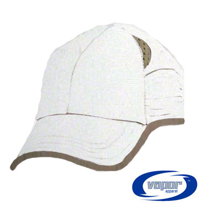 Vapor® BackCountry Cap - White w/Tan Trim