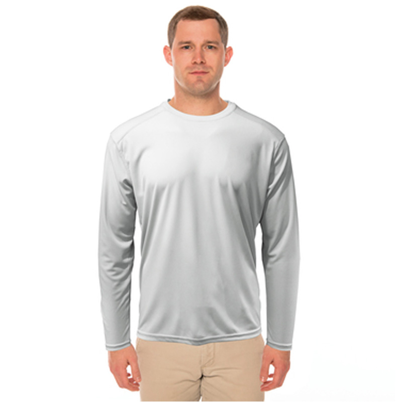 Pearl Gray Vapor® Solar™ Performance Repreve Long Sleeve Tee - Adult