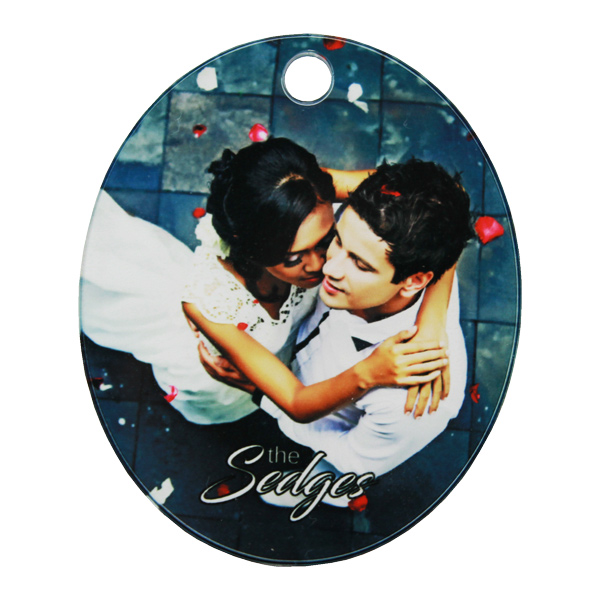 ColorLyte Acrylic Keychain Fob - 3in Oval Portrait