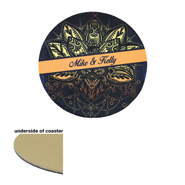 DyeTrans Sublimation Blank Coaster - 4 Round - 2.5mm - Tan-Backed