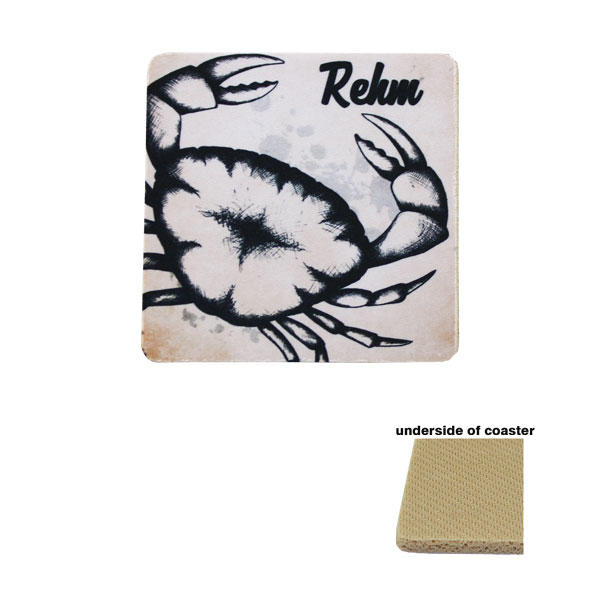 Rubber Square Coaster - 5.5mm - Tan Back
