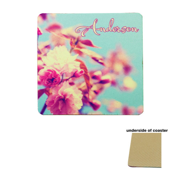 DyeTrans Sublimation Blank Coaster - 3.5 Square - 1.5mm - Tan-Backed