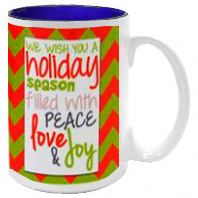 Dye Sub15oz Ceramic Mug, White, with Blue Interior