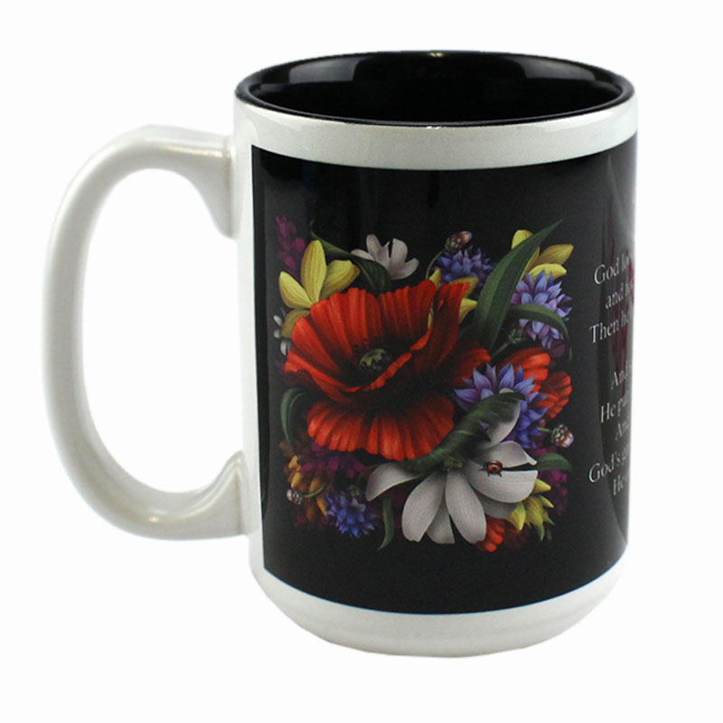15oz White Ceramic Mug White with Black Interior