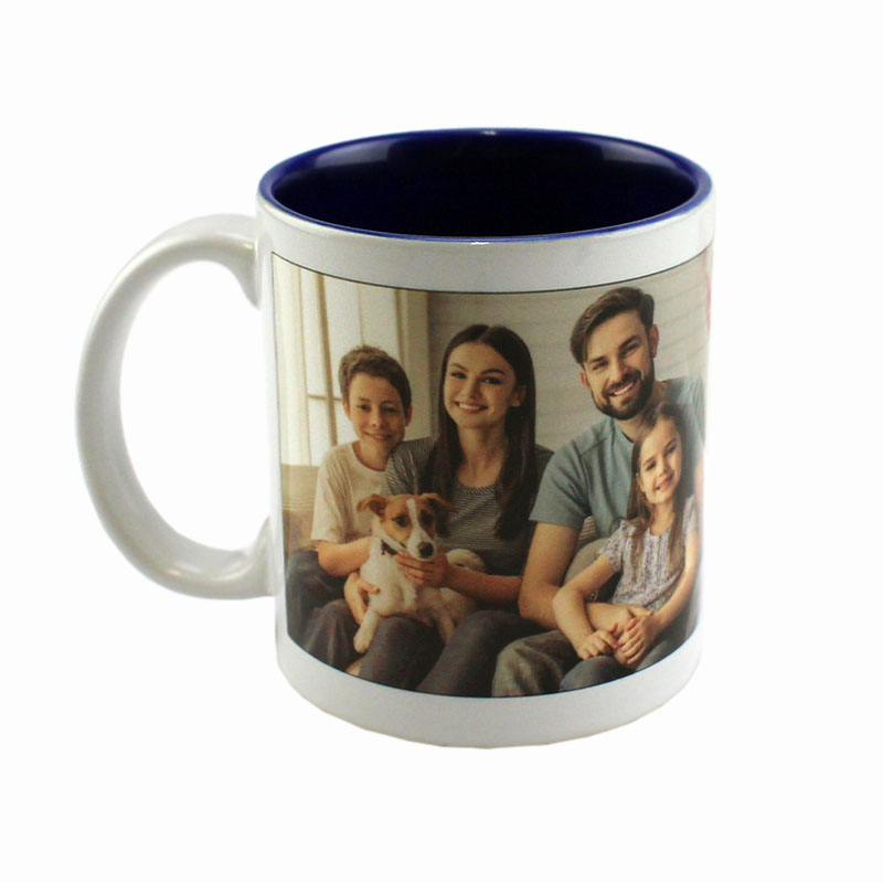 Deco Sublimation Blank Ceramic Mug - White w/Blue Interior - 11 oz