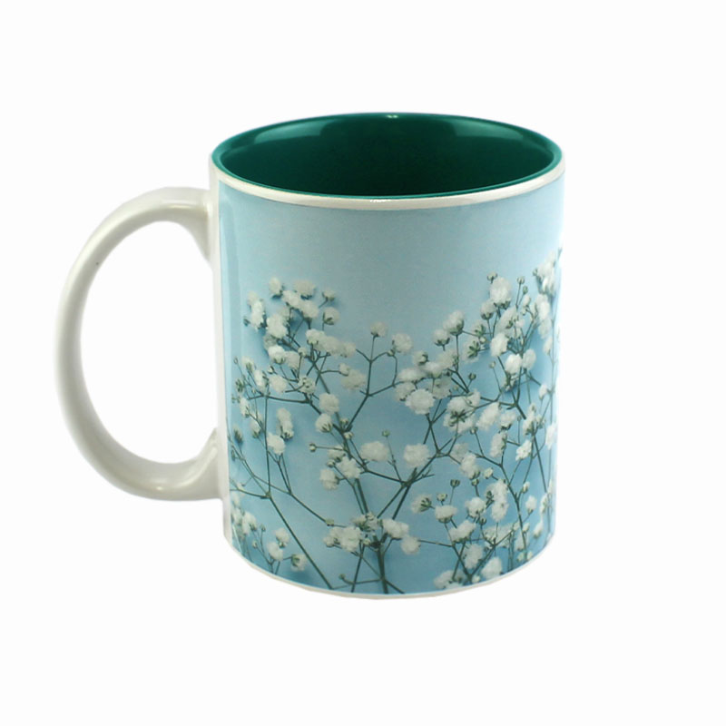 11oz Deco Ceramic Mug, White with Green Interior