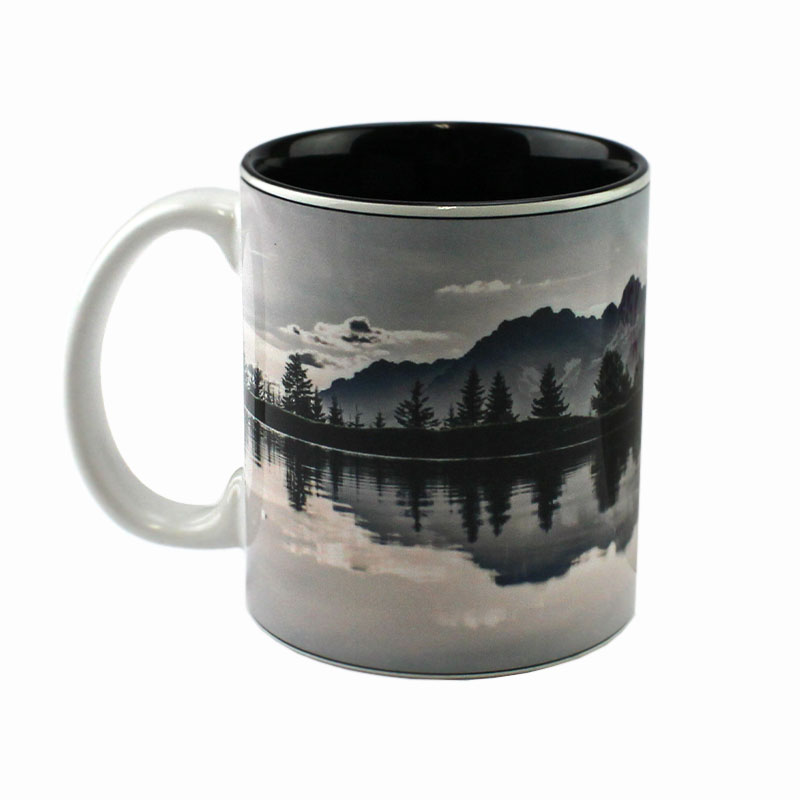 11oz Deco Ceramic Mug, White with Black Interior
