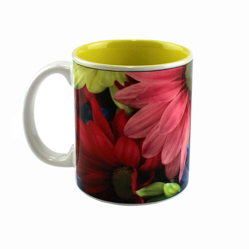 11oz Deco Ceramic Mug, White with Yellow Interior