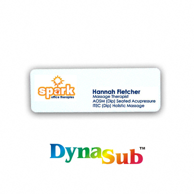 1x3 inch ID Badge DynaSub Aluminum - White Gloss