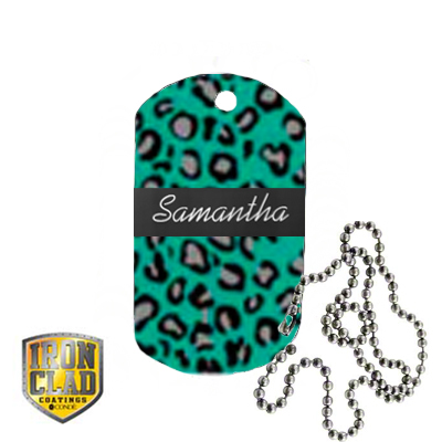 2x1 DyeTrans Stainless Steel Dog Tag with Chain