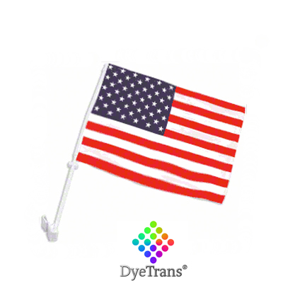 DyeTrans Sublimation Blank Car Flag - 7.5 x 10.5 - Double-Ply w/Pole