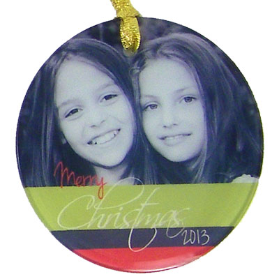 DyeTrans® Round Frosted Glass Ornament with Ribbon