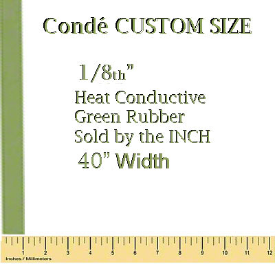 1/8 Heat Conductive Green Rubber - Cut by Inch