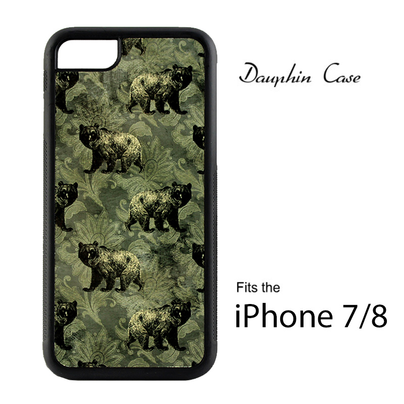 iPhone® 7/8 Dauphin™ Sublimation Hard Rubber Case - Black w/ White Aluminum Insert