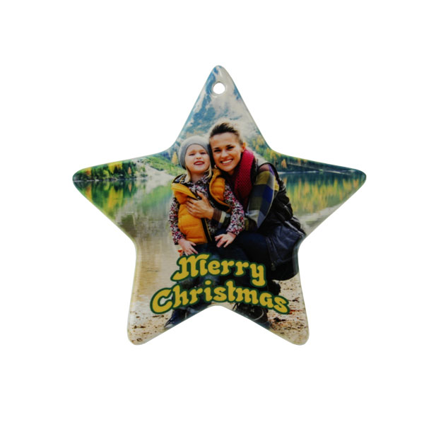 Sublimation 3.75x4 Porcelain Star Ornament-Pierced