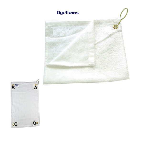 DyeTrans® Sublimation Blank High Pile Small Towel - Grommeted Position D - 11x18