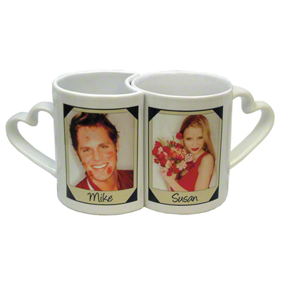 DyeTrans Sublimation Blank Heart Handle Love Mug Set - White - 11 oz/8 oz