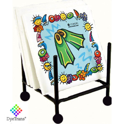 DyeTrans Black Wrought Iron Coaster Holder - Square Upright