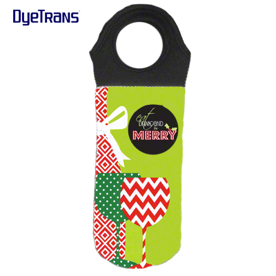 DyeTrans Sublimation Blank Neoprene Wine Tote Bag w/Black Handle