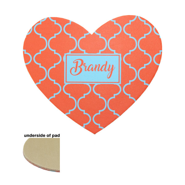 "DyeTrans Sublimation Blank Mousepad - 8"" x 9.5"" - Heart - 5.5mm - Tan-Backed"