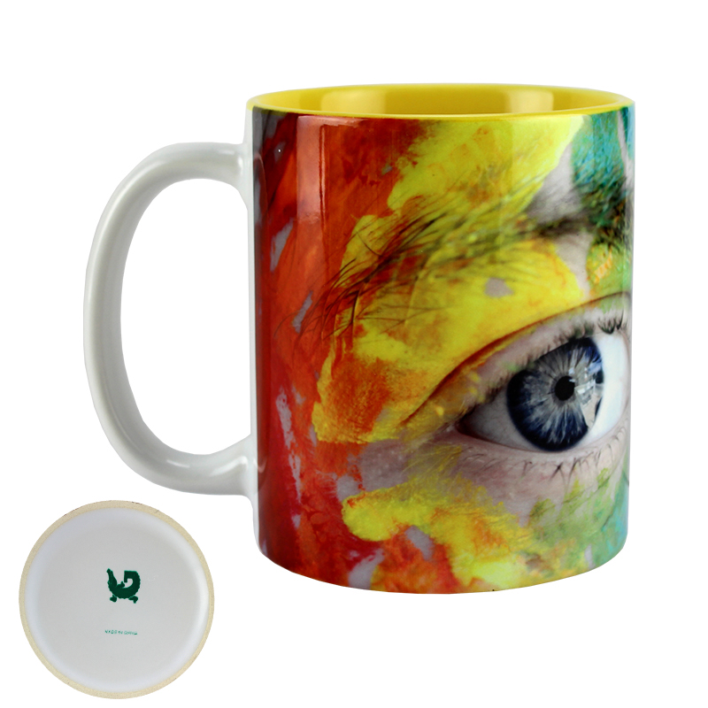 Gator Sublimation Blank Ceramic Mug - White w/Yellow Interior - 11oz