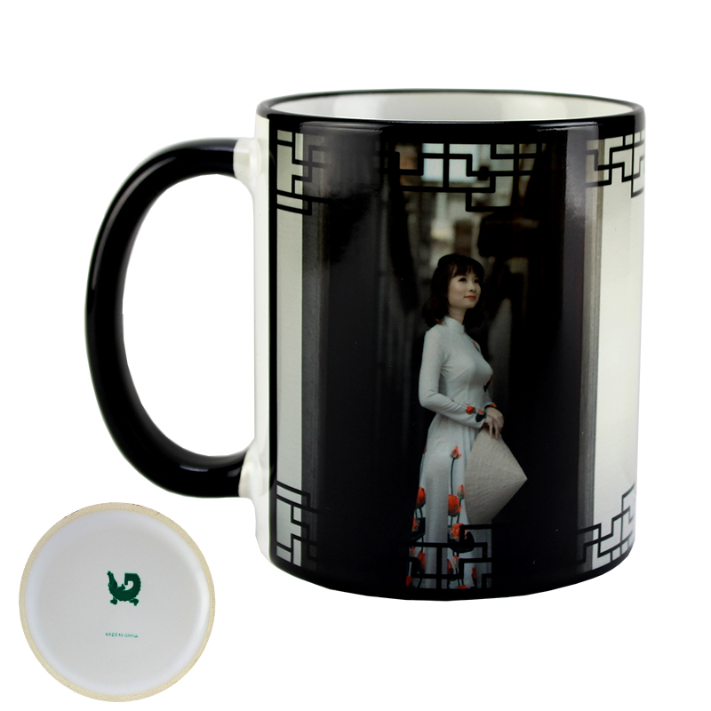 Gator Sublimation Blank Ceramic Mug - White w/Black Rim & Handle - 11oz