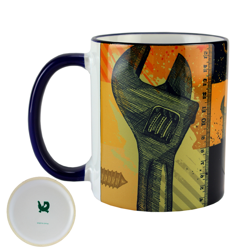 Gator Sublimation Blank Ceramic Mug - White w/Blue Rim & Handle - 11oz