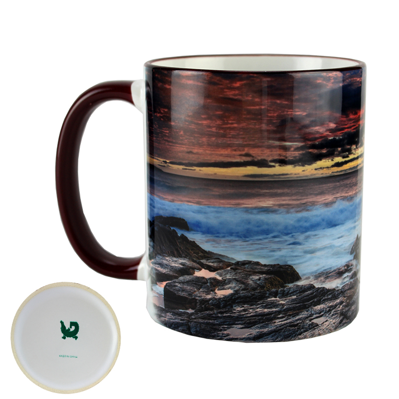 Gator Sublimation Blank Ceramic Mug - White w/Maroon Rim & Handle - 11oz