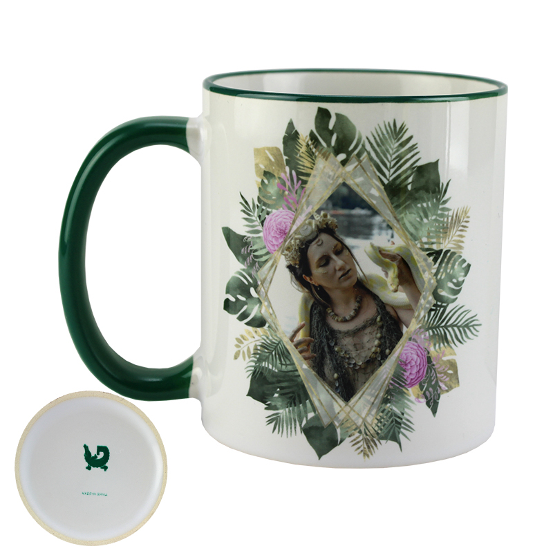 Gator Sublimation Blank Ceramic Mug - White w/Green Rim & Handle - 11oz