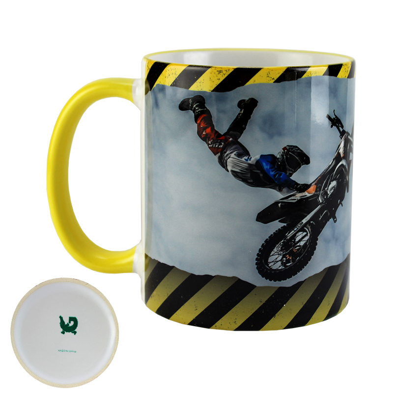 Gator Sublimation Blank Ceramic Mug - White w/Yellow Rim & Handle - 11oz