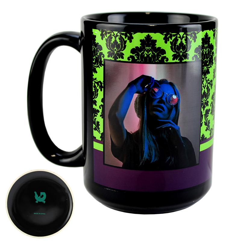 Gator Sublimation Blank Ceramic Mug -  Black w/White Imprintable Panel  - 15oz