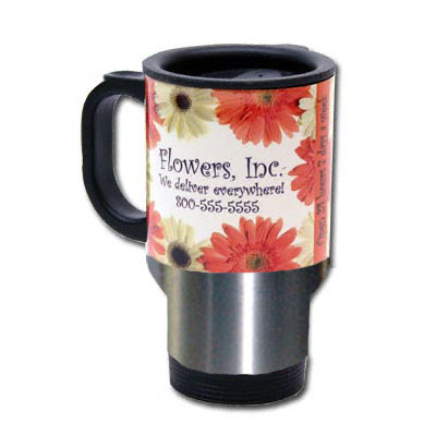 14 oz Stainless Steel Travel Mug - White Panel