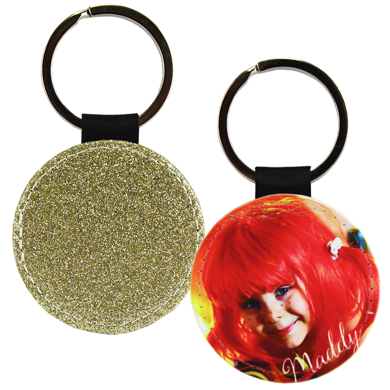 Sublimation Blank PolyLeather Glitter Keychain - Round - Gold