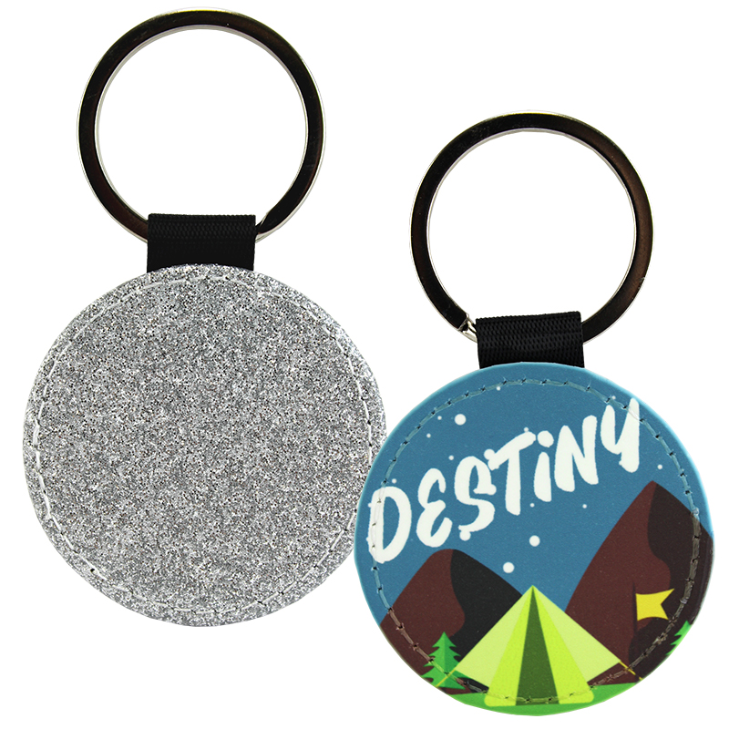 Sublimation Blank PolyLeather Glitter Keychain - Round - Silver