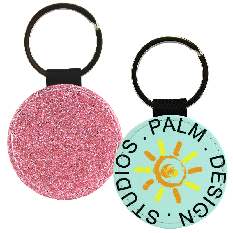 Sublimation Blank PolyLeather Glitter Keychain - Round - Light Pink