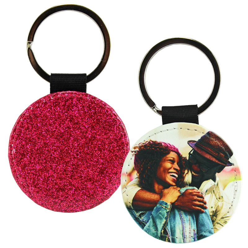 Sublimation Blank PolyLeather Glitter Keychain - Round - Hot Pink